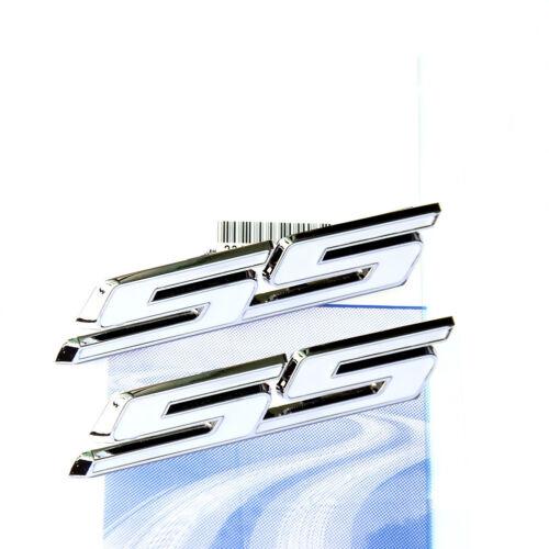 2x OEM White SS Emblem Badge Alloy Stickers for GM Chevrolet Silverado SS U2Y