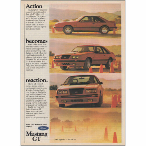 Action Becomes Reaction Vintage Print Ad 1984 Ford Mustang