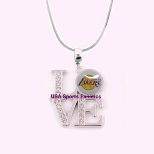 NBA-Los-Angeles-Lakers-925-Sterling-Silver-Team-Love-Necklace-W-Rhinestones
