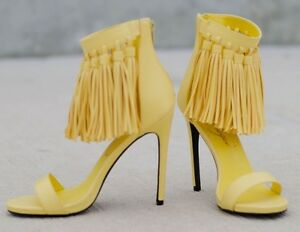 NWB-Privileged-Yellow-Fringe-Stiletto-High-Heel-Sandals-Shoes-SRP-109-Size-7-M