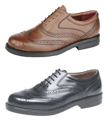 Scimitar Mens Leather Wide Fit Brogues Shoes Sz 6 7 8 9 10 11 12 13 14 BLACK TAN