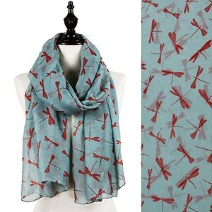 Dragonfly-Pattern-Scarf-Blue-Gray-with-Deep-Red-Dragonflies-70-inches-Long