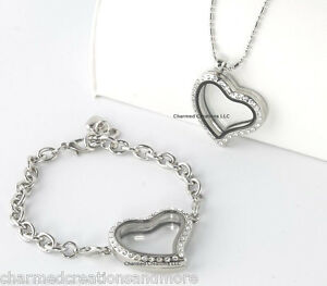 Image Is Loading Silver Crystal Heart Floating Charm Locket Bracelet Necklace
