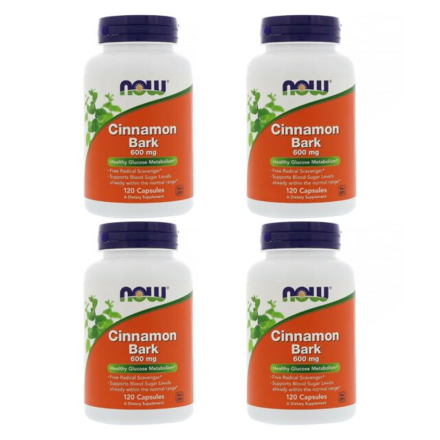 4X NOW FOODS CINNAMON BARK EXTRACT HEALTHY GLUCOSE METABOLISM 120Capsules 600mg