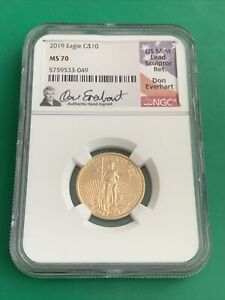 2019 U.S. $10 Gold Eagle NGC MS 70 Don Everhart Hand-Signed