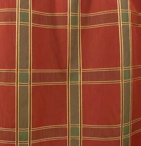 Drapery-Upholstery-Fabric-Woven-Faux-Silk-Plaid-Taffeta-Claret-Jade-Green