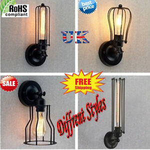 INDUSTRIAL-Retro-Vintage-Rust-Iron-Cage-Shade-Wall-Light-Corridor-Lamp-Lighting