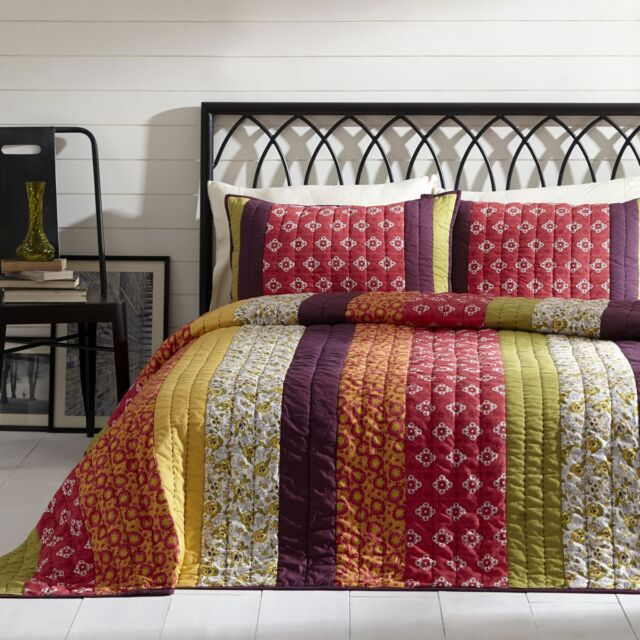 Emma 3pc Queen Quilt Set Purple/Pink Ecletic Bohemian Stripe BT Home 100% Cotton
