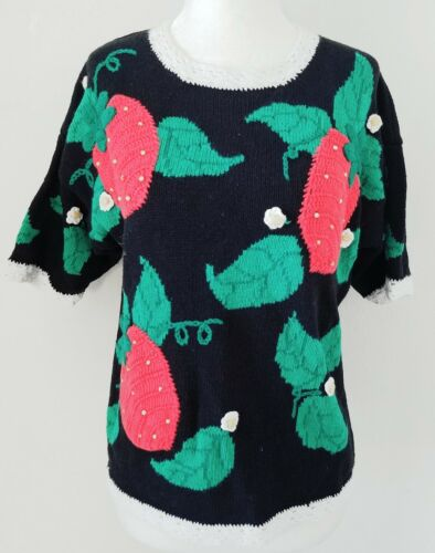VINTAGE 60S 70S STRAWBERRY SWEATER SZ S M 4 6 8