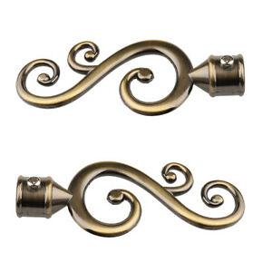 Decorative Curtain Rod Ends.Details About Pair Decorative Window Curtain Rod Pole Ends Cap For Dia 22mm Rods 1 Bronze
