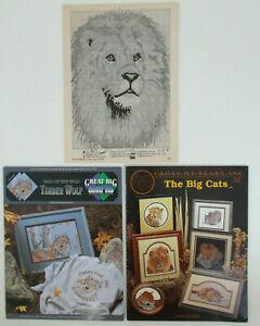 Lot-of-CROSS-STITCH-Pattern-Books-of-WILD-ANIMALS-Timber-Wolf-BIG-CATS