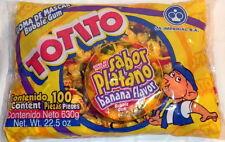 Totito Platano Goma De Mascar Chicles Banana Flavored Bubble Gum 100 Pcs 22.5oz