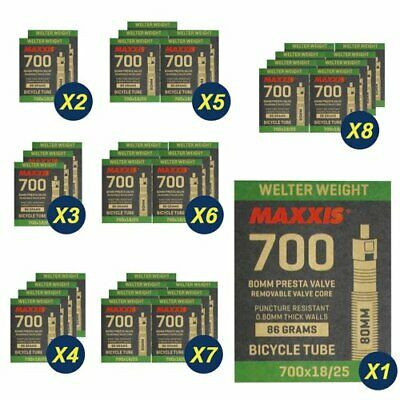 1Pack - 6 Pack Maxxis Welter Weight 700x18-25C 60mm Bike Inner Tube Presta FV