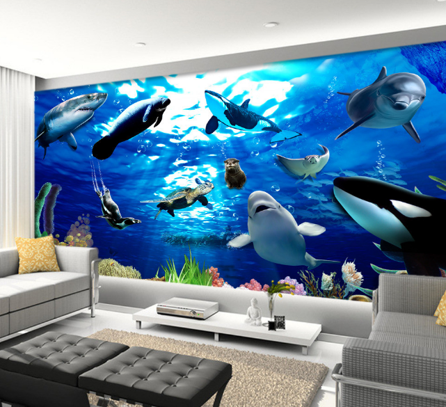 3D Bule Dolphin 4182 Paper Wall Print Wall Decal Wall Deco Indoor Murals