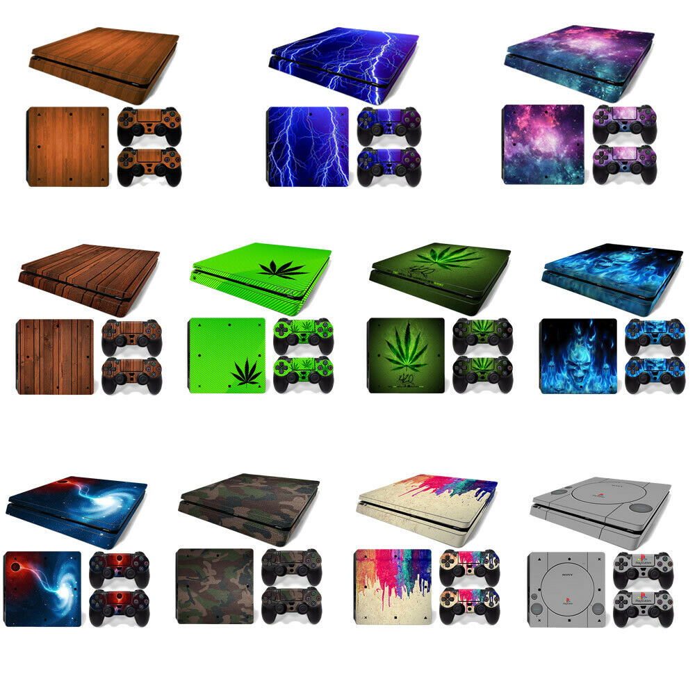 Skin Sticker Cover For PS4 Slim Playstation 4 Console & 2 Controller Decal Set