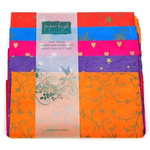 Fair Trade Lokta Paper Five Sheet Gift Wrap Pack GWP57
