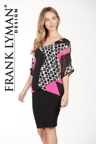 10 Black 12 Lyman Candy White Overlay Capo Bnwt Pink Animal Frank Chiffon Dress 5vTxqwPx6