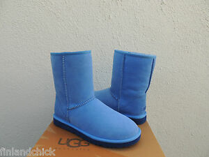 Image is loading UGG-CLASSIC-SHORT-SKYLINE-BLUE-SUEDE-SHEEPSKIN-BOOTS-