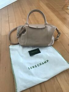 Details about Longchamp Le Pliage Cuir Small Top Handle Tote Bag Leather
