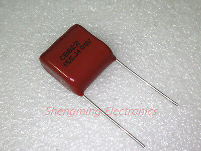 10pcs 1.5uF 155J 400V CBB Metallized Film Capacitor P=20MM
