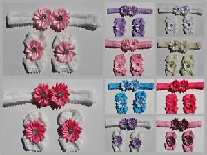 Set-of-Baby-Headband-amp-Baby-Girl-Barefoot-Sandals-Daisy-Flower-Hair-Band-Newborn