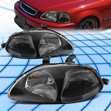 Fit 1996-1998 Honda Civic ek JDM Black Housing Clear Corner Headlights head lamp