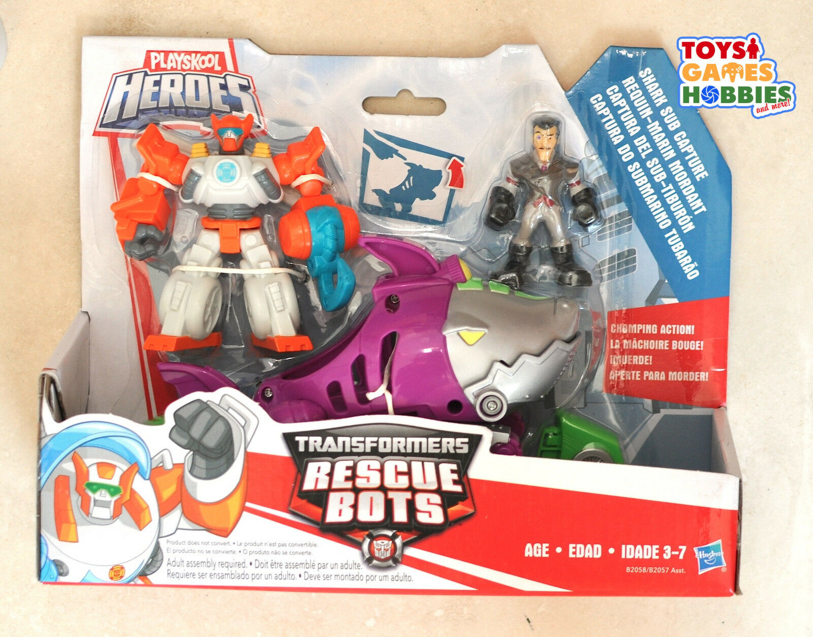 NEW Transformers Rescue Bots Shark Sub Capture Blades Dr. Mgoldcco Figure set