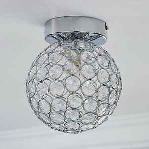 Dunelm-Sphere-1-Light-Rounded-Pendant-Flush-Ceiling-Fitting-Chrome-A