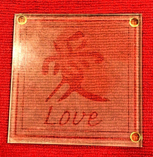 Thick See-thru Glass Wedding Gorgeous Glass Tiles Japanese Symbols for LOVE