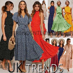 UK-Womens-Holiday-Polka-Dots-Slit-Ladies-Maxi-Long-Summer-Print-Beach-Dress-6-14