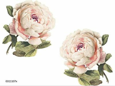 XL VinTaGe IMaGe GoRGeouS PaLe PinK CaBbaGe RoSeS SHaBbY WaTerSLiDe DeCALs