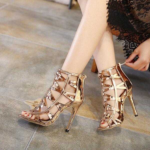 Sandali eleganti tacco stiletto 11 cm fashion oro pelle sintetica eleganti 9824