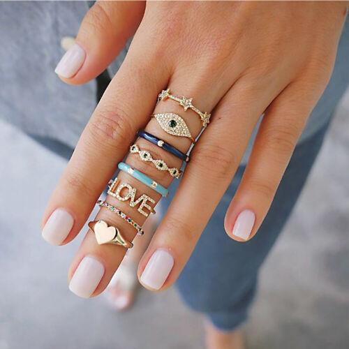 Vintage 8 Pcs// Set Evil Eye Love Heart Star Crystal Rings For Women Jewelry Gift