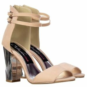 4680eb5f9 Womens Peep Toe Mid Block Heels High Back Strappy Sandals Nude Suede ...
