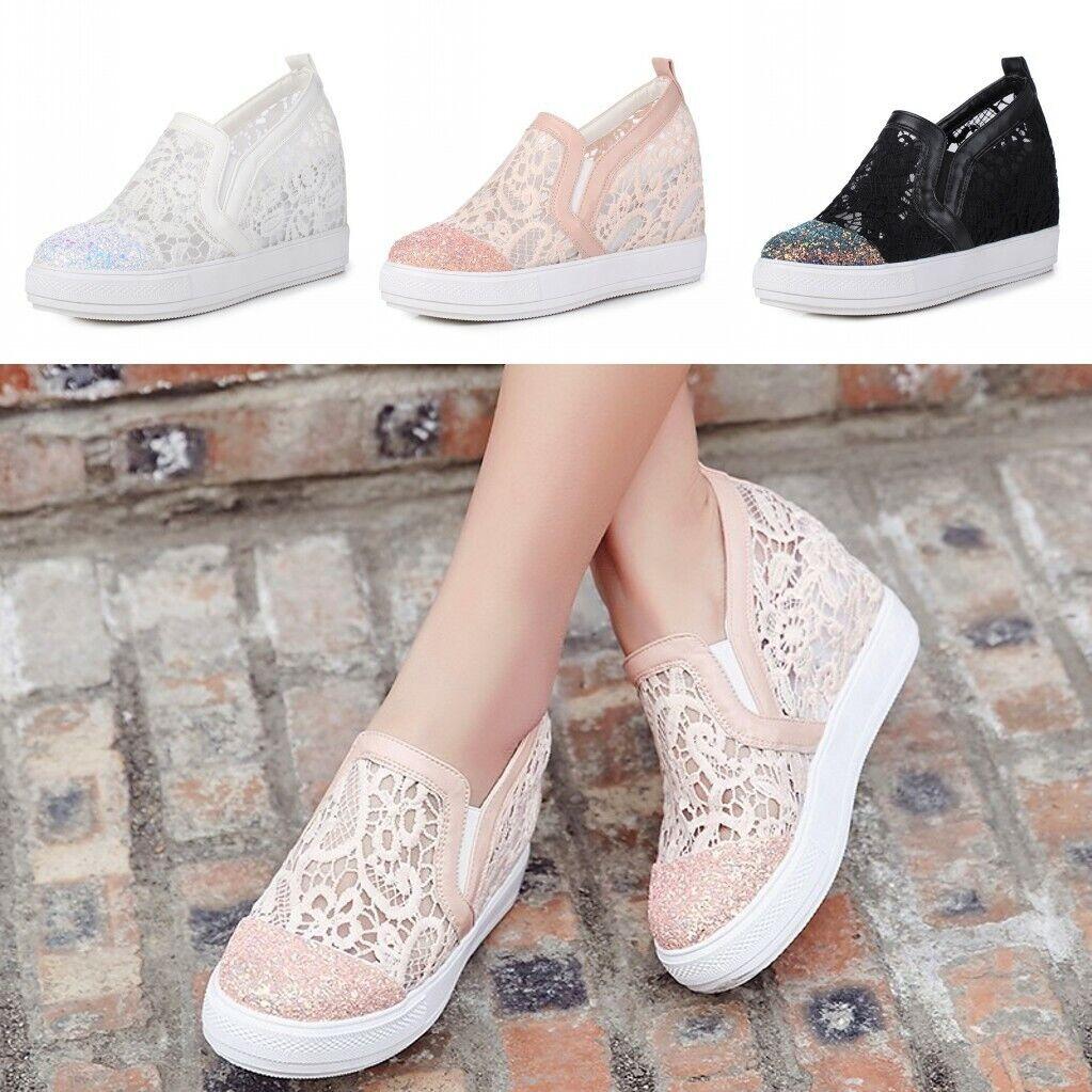 Women Slip On Hidden Wedge Heel 5cm Loafer Pumps Round Toe Sneaker Pu Leather SZ