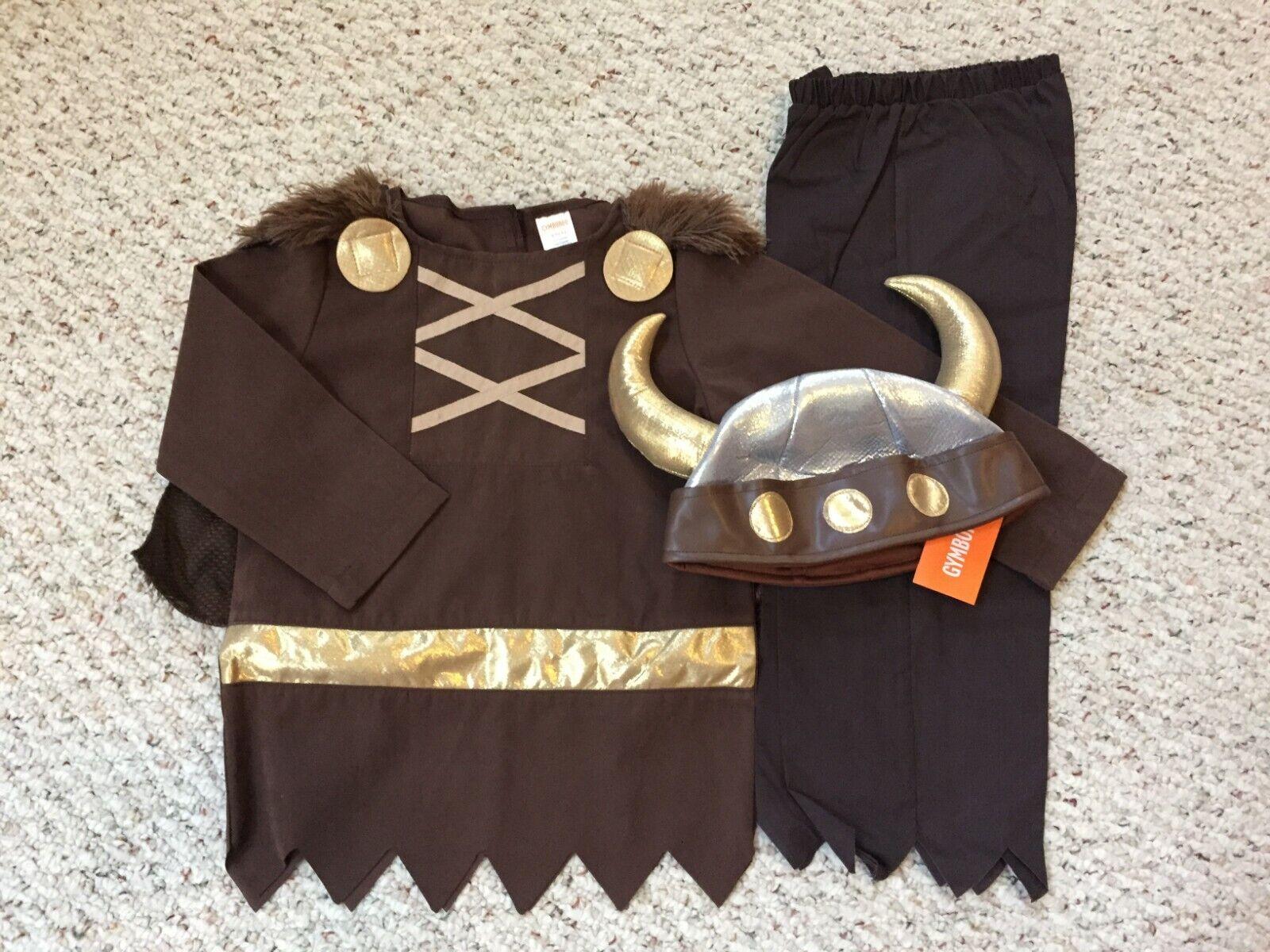 NEW Gymboree Halloween Boys Viking Costume & Plush Helmet Hat XS x-small 3-4 NWT