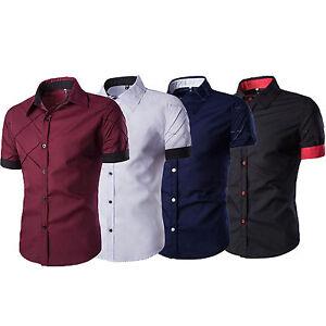 Men-039-s-Short-Sleeve-Buttons-Down-Casual-Shirts-Slim-Fit-Dress-Formal-T-shirt-Tops
