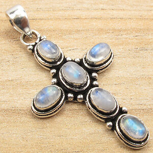 925-Sterling-Silver-Plated-Real-Natural-Gemstone-ETHNIC-CROSS-Pendant-Handwork