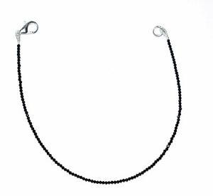 925-Sterling-Silver-7-034-Strand-Jewelry-Bracelet-2-mm-Beads-Black-Spinel-Gemstone