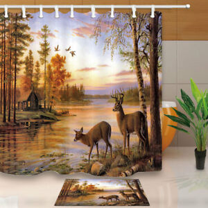 Image Is Loading Whitetail Deer In The Woods Shower Curtain Decor