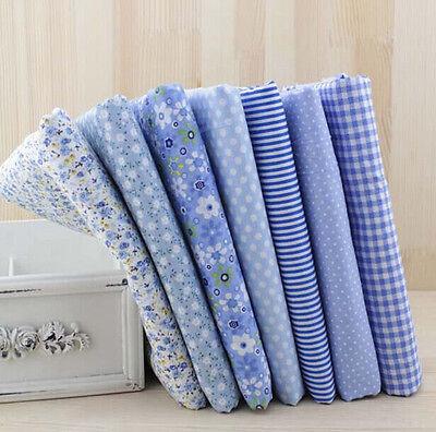 Blue Serie 7 PCS Assorted Pre-Cut Plain Cotton Quilt cloths Fabrics for Sewing
