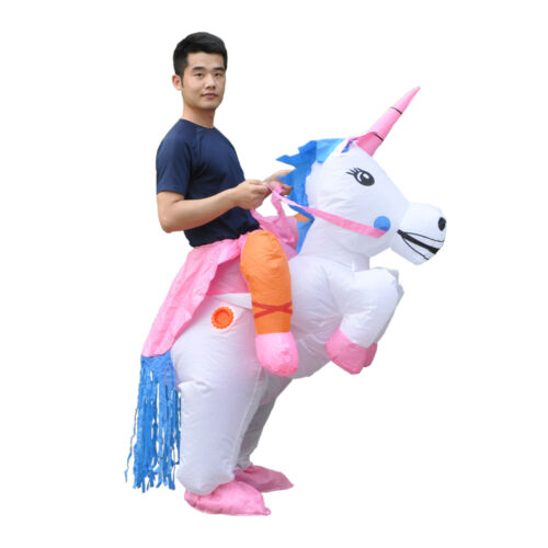 1 of 1 - Inflatable Unicorn Costume Adult Ride Novelty Fancy Dress Party Outfit Fan Unit