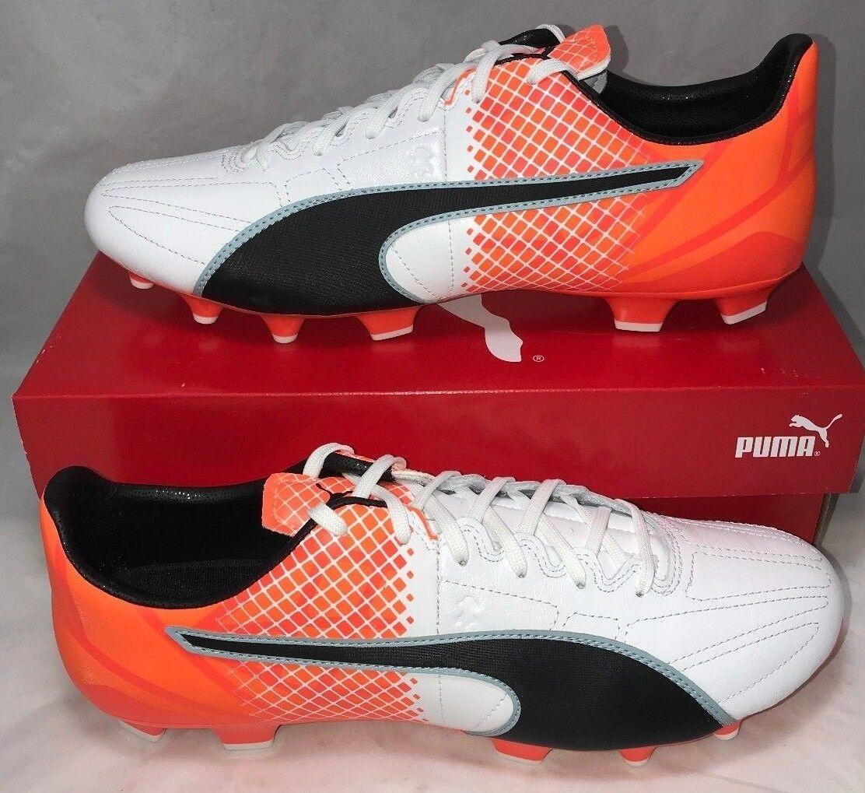 Puma Mens Dimensione 10.5 Evospeed 3.5 FG Leather Soccer Cleats bianca arancia