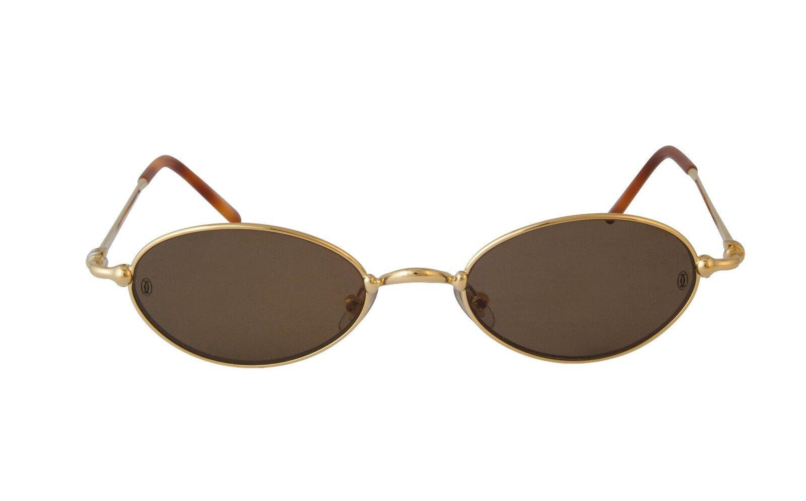 f53c7357a779 Cartier Sunglasses MIZ82PZ3 Gold Oval Frame Brown Lens France ...