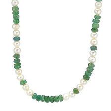 Elegant  Necklace W/18.81ctw Genuine Emerald & 5.0-6.0mm Freshwater Pearls