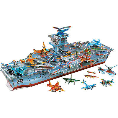 SET 12 CLASSIC WAR PLANE 3D MODEL KITS & A AIRCRAFT CARRIER SHIP PUZZLE TOY 0646