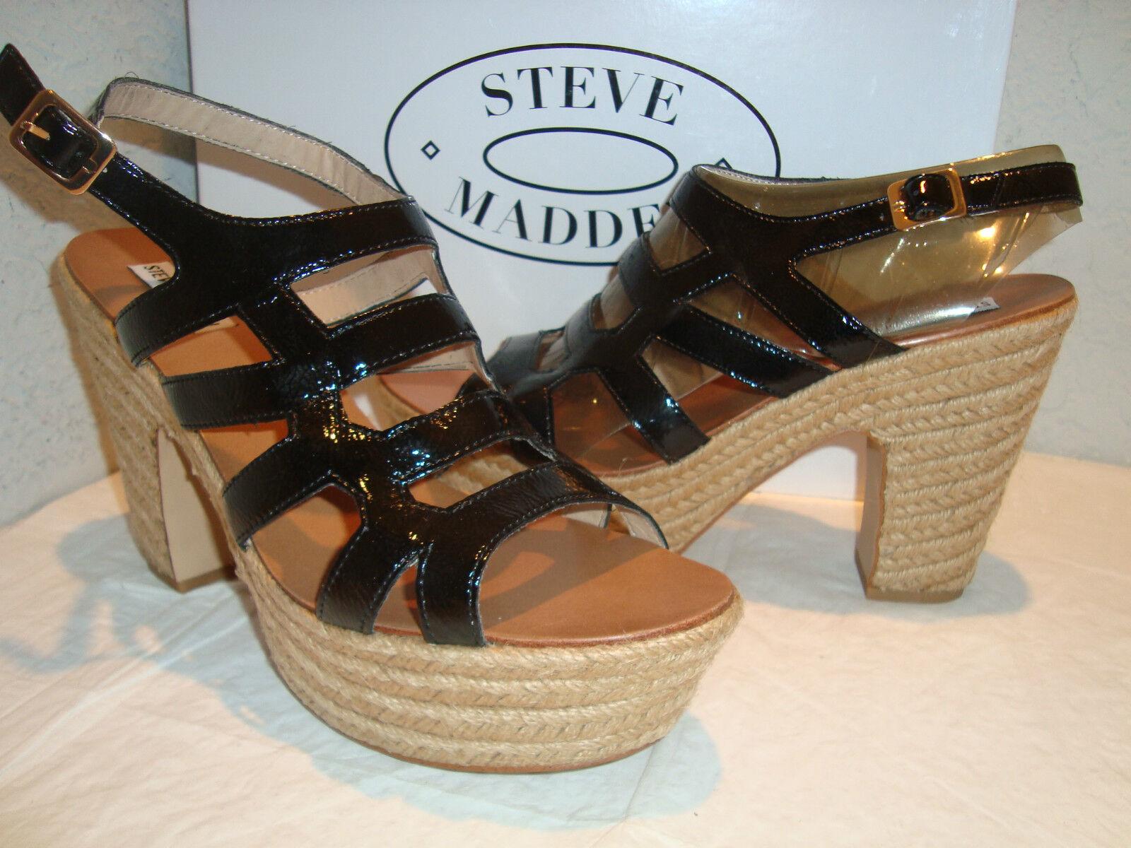 Nuevo para mujer naadine Negro Patente Steve Madden Sandalias Zapatos Zapatos Zapatos 10 medio  a precios asequibles