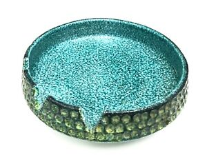 Estate-Italian-Mid-century-Decorative-Pebbled-Blue-Green-Pottery-Ashtray-Dish