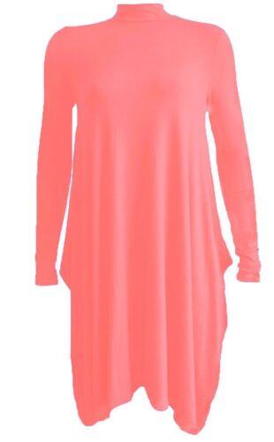 Womens Flared Polo Neck Swing Dress Hanky Hem Ladies Turtle Neck Long Dress 8-26