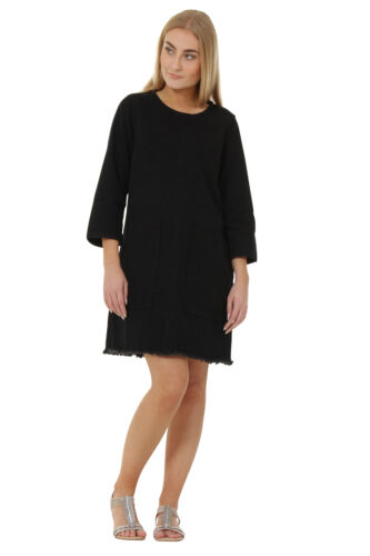 Black Denim Dress with Raw Hem 3//4 Sleeve Jean Dress Front Pockets